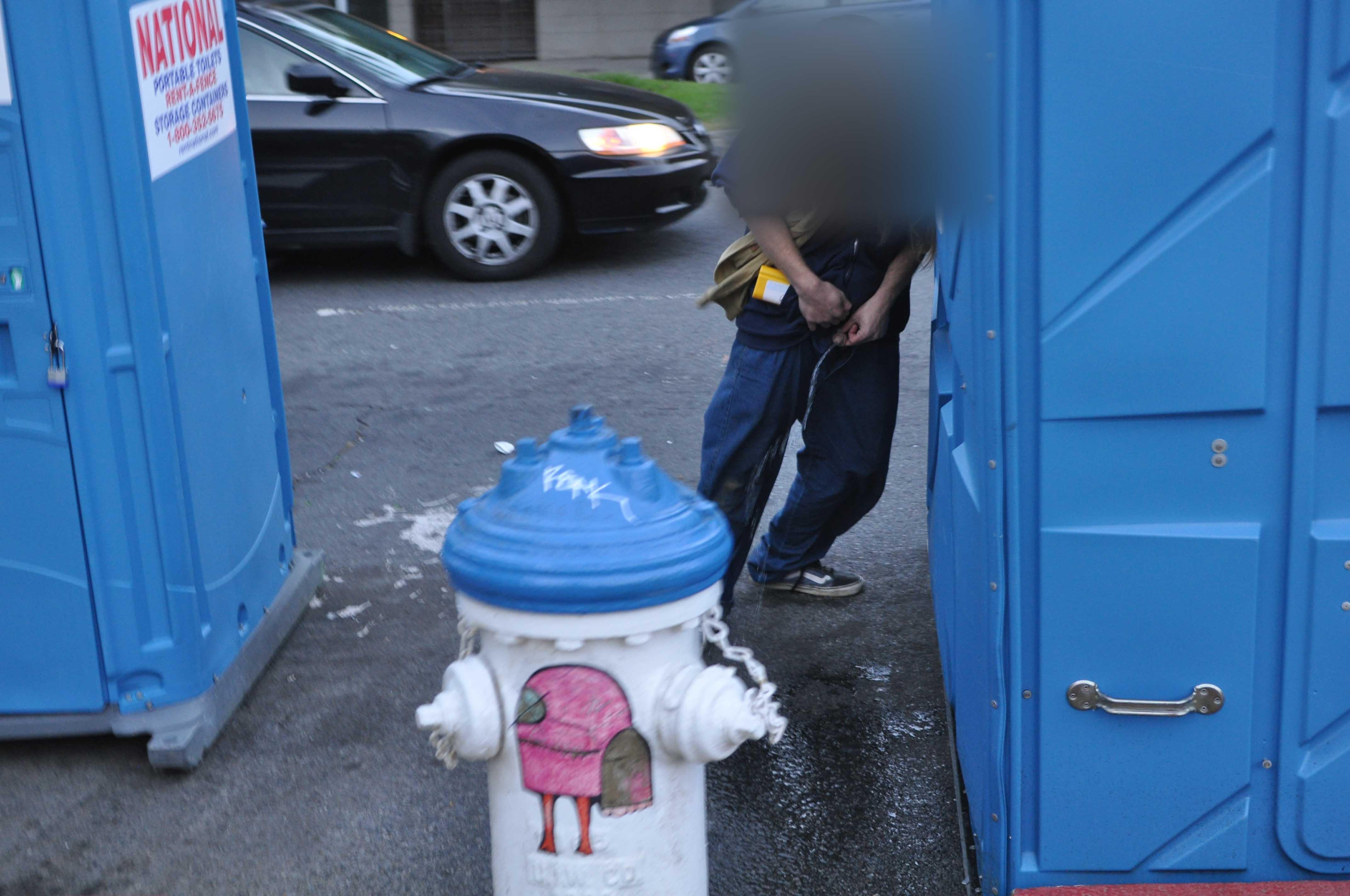 Girl Pee Trash Can