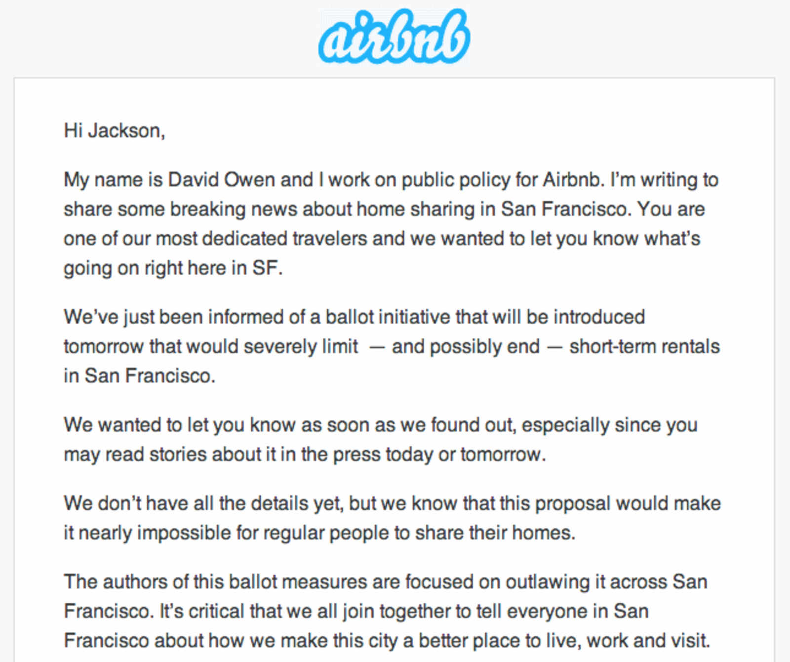 Airbnb encourages strange bedfellows to share room near city hall to what degree the coalition is serious and to what degree this is theater simply meant to stake out a negotiating position remains to be seen expocarfo