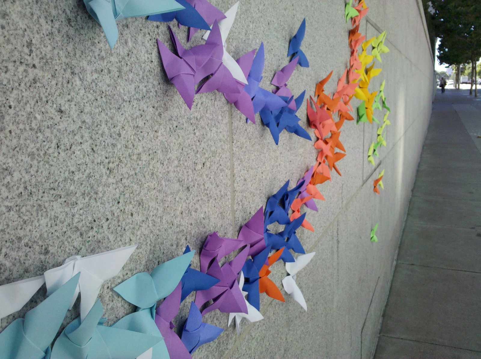 Fly Origami Street Art Graces Side Of The Asian Art Museum Uptown