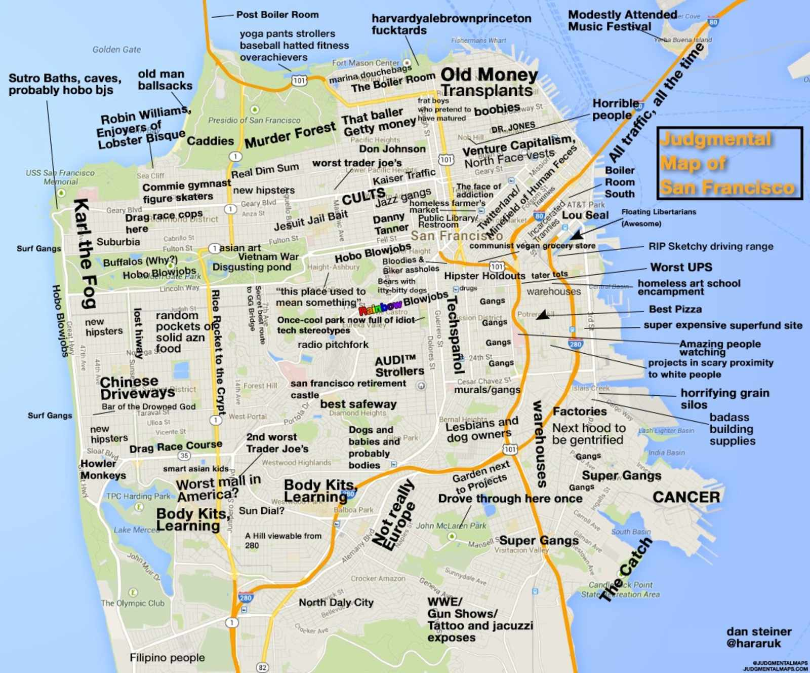 Judgmental Map Of San Francisco Shows You How To Avoid